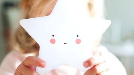 A Little Lovely Company Noční LED lampička White star, bílá barva, plast