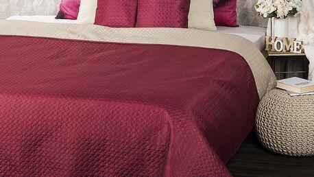 4Home Přehoz na postel Doubleface vínová/béžová , 220 x 240 cm, 2x 40 x 40 cm