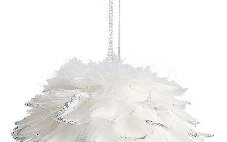 CÔTÉ TABLE Závěsná dekorace Plume blanche - větší, bílá barva, stříbrná barva