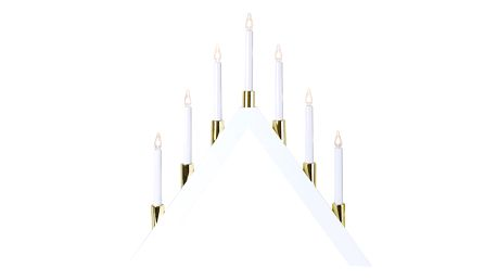 STAR TRADING Elektrický sedmiramenný svícen Halla White, bílá barva, zlatá barva, dřevo