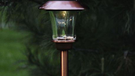 STAR TRADING Zahradní světlo na solární napájení Antique copper 48 cm, měděná barva, sklo, kov