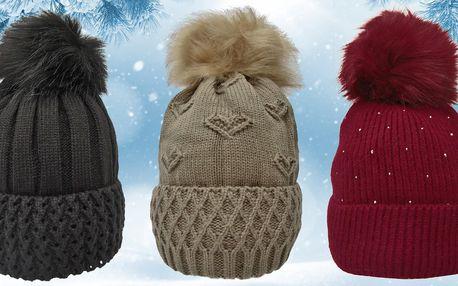 Dámské zimní čepice s chlupatou bambulí: 8 barev