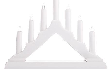 Vánoční LED svícen, bílá, plast, 15,5 x 15,5 x 3,8 cm