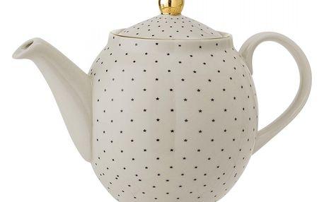 Bloomingville Vánoční konvice na čaj Fanny, béžová barva, zlatá barva, keramika