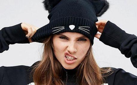 Zimní čepice s oušky a kočičím čumáčkem
