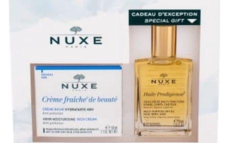 NUXE Creme Fraiche de Beauté 48HR Moisturising Rich Cream dárková kazeta pro ženy denní pleťová péče 50 ml + suchý olej Huile Prodigieuse 30 ml