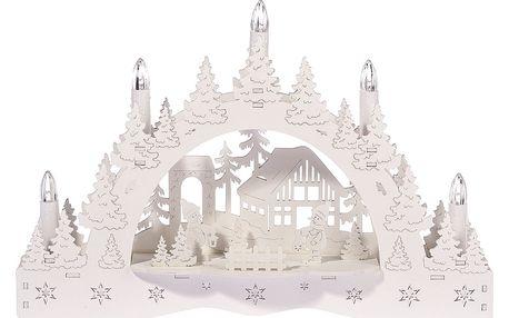 Vánoční LED svícen Zimní krajina, chaloupka a sněhulák, 35 x 23 x 7,5 cm