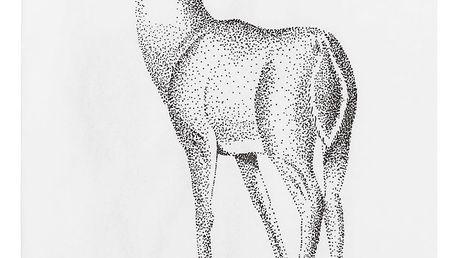 Bloomingville Papírové ubrousky s jelenem 20 x 10 cm, bílá barva, papír