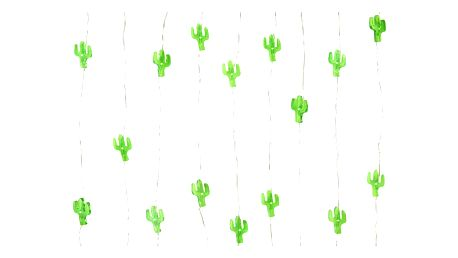 Talking Tables Mini LED světýlka Cactus, zelená barva, plast