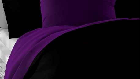 Kvalitex Saténové povlečení Luxury Collection černá / tmavě fialová, 140 x 200 cm, 70 x 90 cm