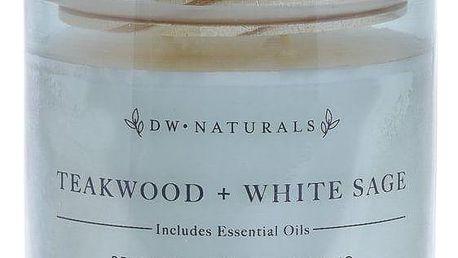 dw HOME Vonná svíčka ve skle Teakwood and White Sage 500g, šedá barva, sklo, dřevo