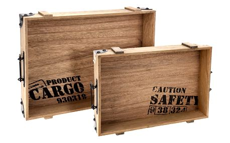 Home Styling Collection Dřevěný podnos snídaňový - 2 kusy v kompletu