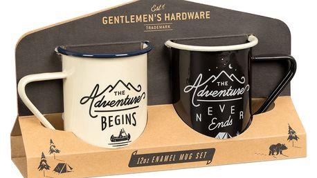 GENTLEMEN'S HARDWARE Cestovní sada smaltovaných hrnků Adventure - 2 ks, černá barva, krémová barva, přírodní barva, smalt