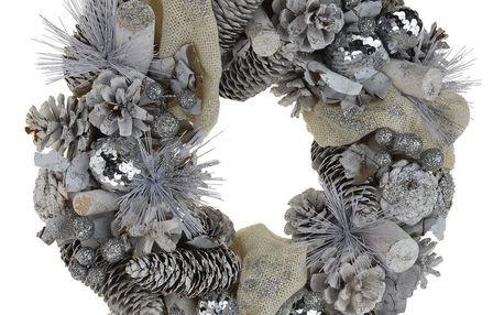 Vánoční věnec Loreto stříbrná, pr. 33 cm
