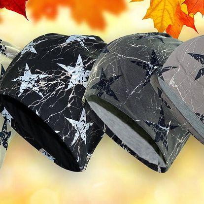 Pánské zimní čepice s motivem hvězd: 4 barvy