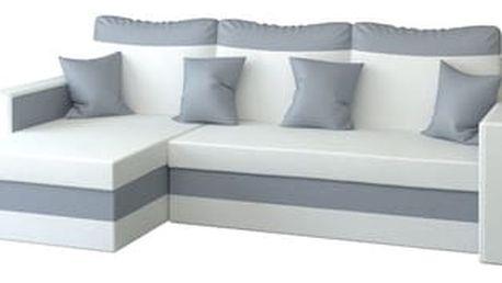 Rohová rozkládací sedací souprava z eko-kůže MADO Bílá/šedá