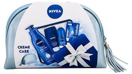 Nivea Creme Care sprchový gel dárková sada W - sprchový gel 250 ml + antiperspirant Protect & Care 50 ml + tělové mléko Body Milk 400 ml + balzám na rty Labello Original 4,8 g + kosmetická taška