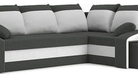 Rozkládací rohová sedací souprava s taburety a poličkou GRANDE Šedá/bílá Pravá