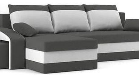 Rozkládací rohová sedací souprava s taburety HEWLET Šedá/bílá Pravá