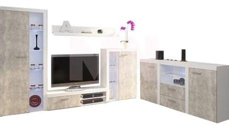 Obývací stěna s komodou OLIMP beton Bez LED osvětlení