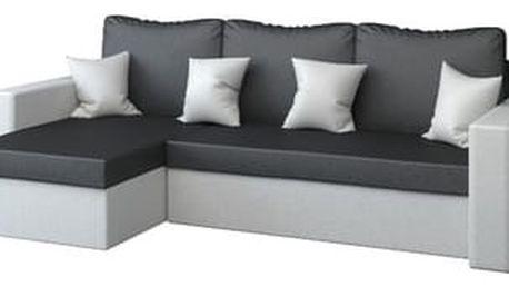 Rohová rozkládací sedací souprava z eko-kůže PAUL Černá/světle šedá