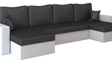 Rohová rozkládací sedací souprava z eko-kůže RUMBA Černá/bílá
