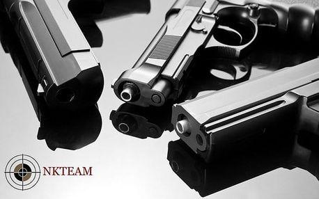 Střílení z mnoha druhů zbraní pro amatéry i zkušené na různých střelnicích NK – teamu