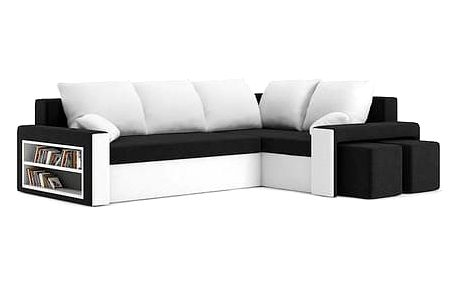 Rozkládací rohová sedací souprava s poličkou METRO Černá/bílá Pravá