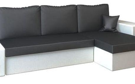 Rohová rozkládací sedací souprava z eko-kůže LINEA Černá/bílá