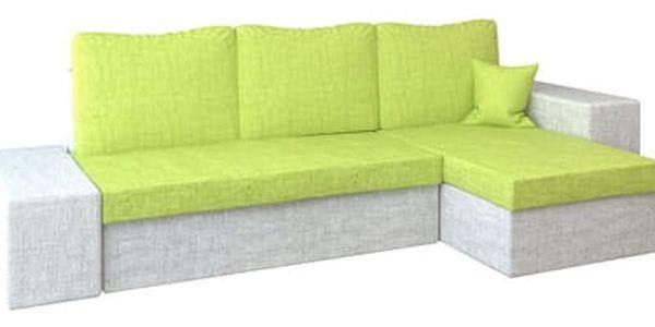 Rohová rozkládací sedací souprava LINEA Zelená/svělte šedá