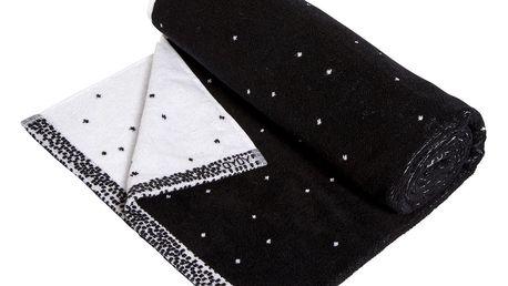 OYOY Froté osuška Dotty Black/white 70x140 cm, černá barva, bílá barva, textil