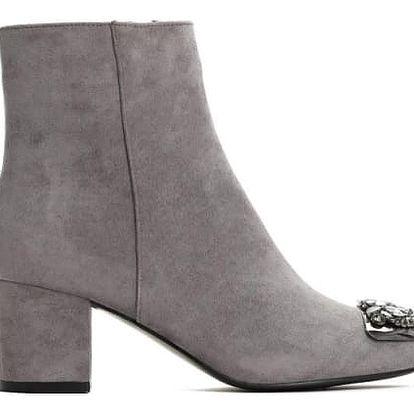 Dámské šedé kotníkové boty Amie 1346