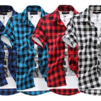Pánská károvaná košile s krátkým rukávem!