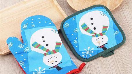 Vánoční set chňapky a podložky Snowman