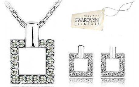 Šperky Swarovski Elements Square - krásný set náušnic, přívěsku i řetízku!