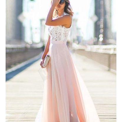 Dlouhé šaty s krajkovým vrškem a růžovou sukní - Velikost č. 2 - dodání do 2 dnů