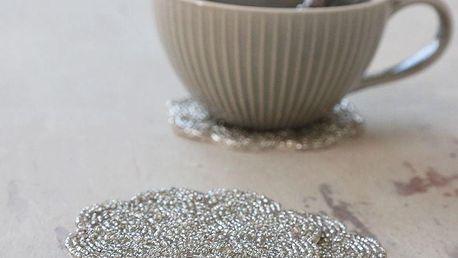 Chic Antique Podložky pod hrnky Pearls Antique Silver - set 4ks, stříbrná barva, textil