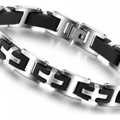 Pánský kovový náramek v černostříbrné barvě