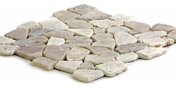 Divero Garth 573 Mozaika říční kámen - krémová 1m2 - 30x30x1,5 cm3