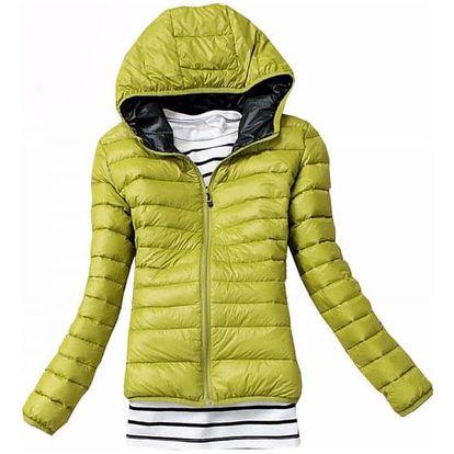 Dámská podzimní prošívaná bunda s kapucí - zelená, velikost M - dodání do 2 dnů