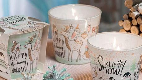 Svíčka v konickém skle s vánočním motivem ZVÍŘÁTKA 115g