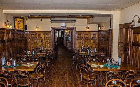 4chodové menu se skleničkou vína a piva pro 2 osoby ve Švejk Restaurantu Strašnice v Praze