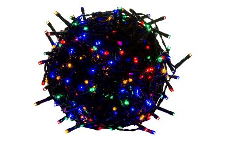 Voltronic 39463 Vánoční LED osvětlení 60 m - barevné 600 LED - zelený kabel