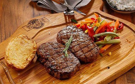 Kuřecí, vepřový nebo hovězí steak s přílohami pro 1 ve Švejk Restaurantu Strašnice v Praze