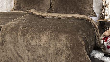 4Home Povlečení mikroflanel hnědá,140 x 200 cm, 70 x 90 cm