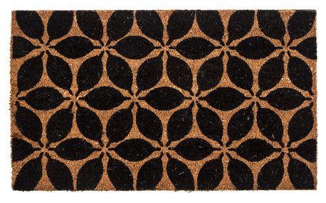 Home Elements Kokosová rohožka Květina černá, 43 x 73 cm