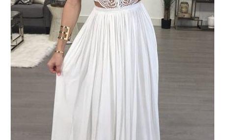 Plesové šaty s krajkovým topem - 2 barvy