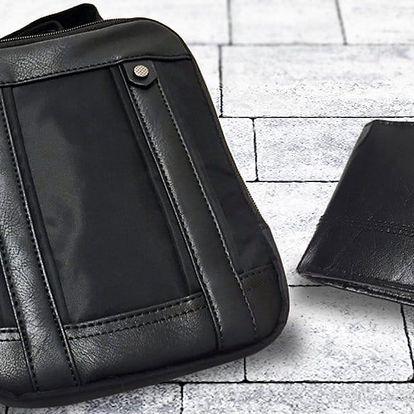 Kožená peněženka a taška přes rameno