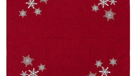 BO-MA Trading Vánoční ubrus Vločky červená, 85 x 85 cm