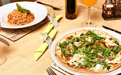 Pizza nebo těstoviny a nápoj v restauraci Vabene
